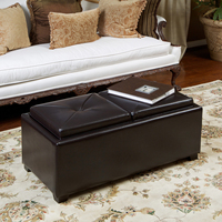 Contemporary Rectangular Storage Ottoman Leather 2 Tray Top Coffee Table