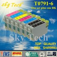 Один комплект плюс один BK Совместимый картридж для t0791-T0796, для Epson Стилусы фото 1400 P x 700 Вт px800fw 1500 Вт P50 PX650 и т. д