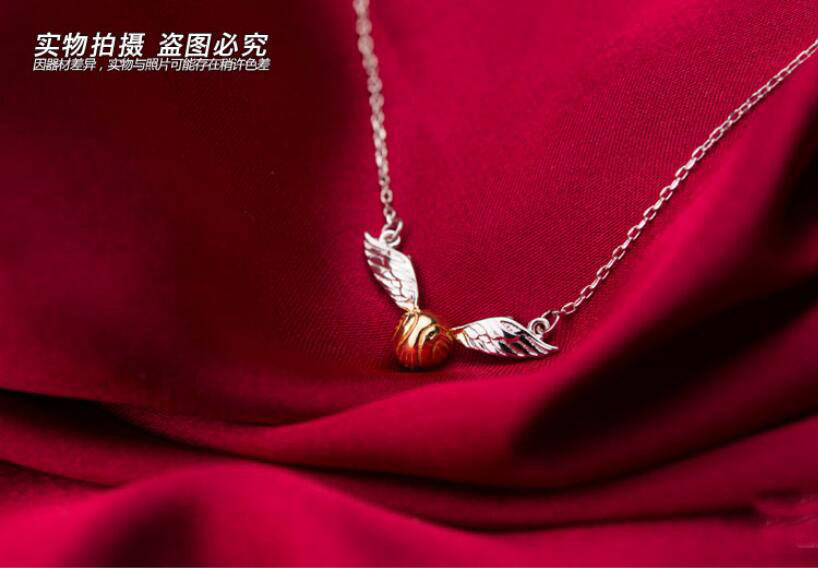 Quidditch match/Golden Snitch necklace/ silver 925 necklace/ movie products.