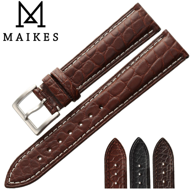 MAIKES HQ Genuine Alligator Leather Strap Watch Band Belt 18mm 20mm 22mm 24mm Stainless Steel Clasp Men Watch Accessories maikes 18mm 20mm 22mm watch belt accessories watchbands black genuine leather band watch strap watches bracelet for longines