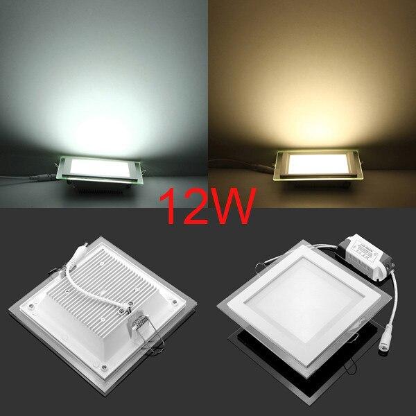 Dimmable LED Panneau Downlight Carré Voyants Du Panneau de Verre Haute Luminosité Encastré Au Plafond Lampes pour 6 W/9 W/12 W/18 W