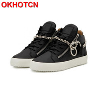 Lace Up Mens Sneakers Casual Leather Shose Men Side Zipper Chain Flats Height Increasing Men Shoes Spring Autumn White Shoes Men