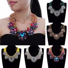 цена на Fashion Handmade Acrylic Resin Bead Chain Pendant Choker Statement Bib Necklace