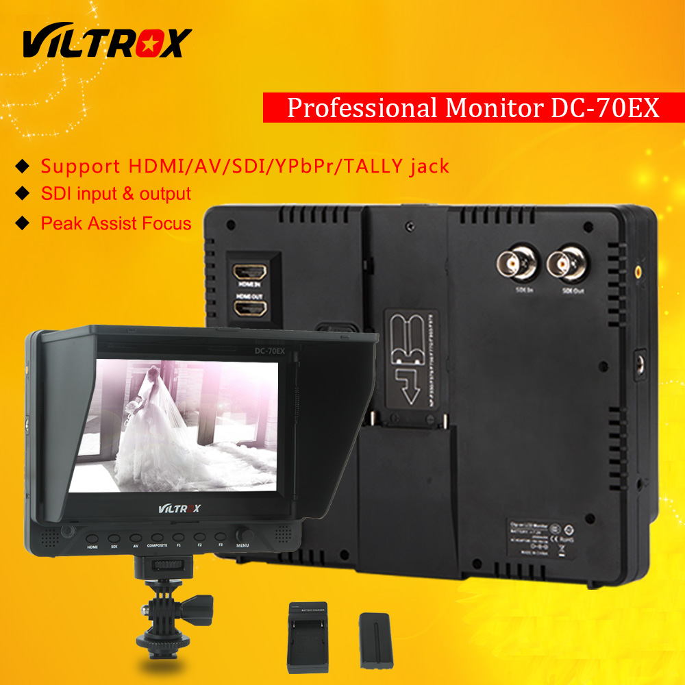Viltrox DC-70EX 7'' HD Clip-on HDMI/SDI/AV Input Camera Video LCD Monitor Display Field & Battery & Charger for Canon Nikon DSLR
