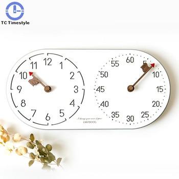 Wall Clock Desktop Simple Modern Design Wooden Clocks Quartz Watch Bedroom Decorative Round Living Room Double Dial Minimalist