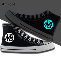 Anime Dragon Ball Z cosplay Canvas shoes Unisex son goku Daily Boots Halloween Party Fashion Print High top Cool Shoes 011106