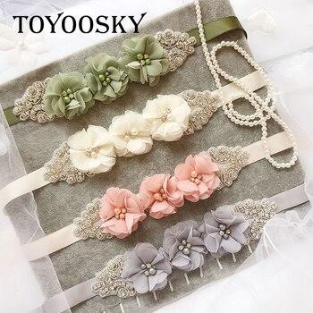 Flowers Belt For Women Pearl Wedding Dress Chiffon Flower Handmade Bridal Sash White Ribbon for Bride