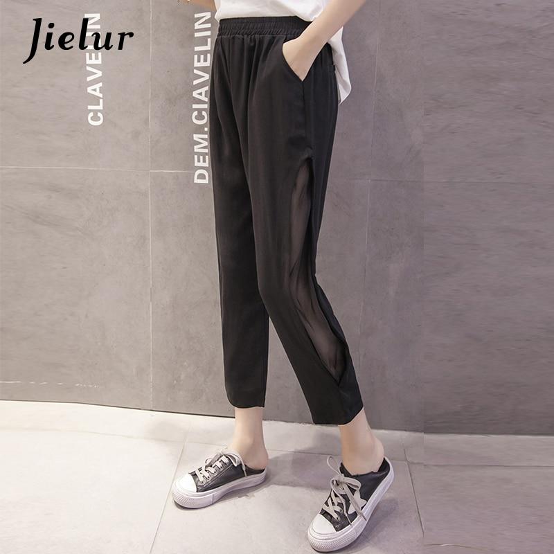 Jielur Summer Fashion Thin Chiffon   Pants   Hollow Side Split Mesh Spliced Harem   Pants   Women Simple Casual Black   Capris   Pantalon