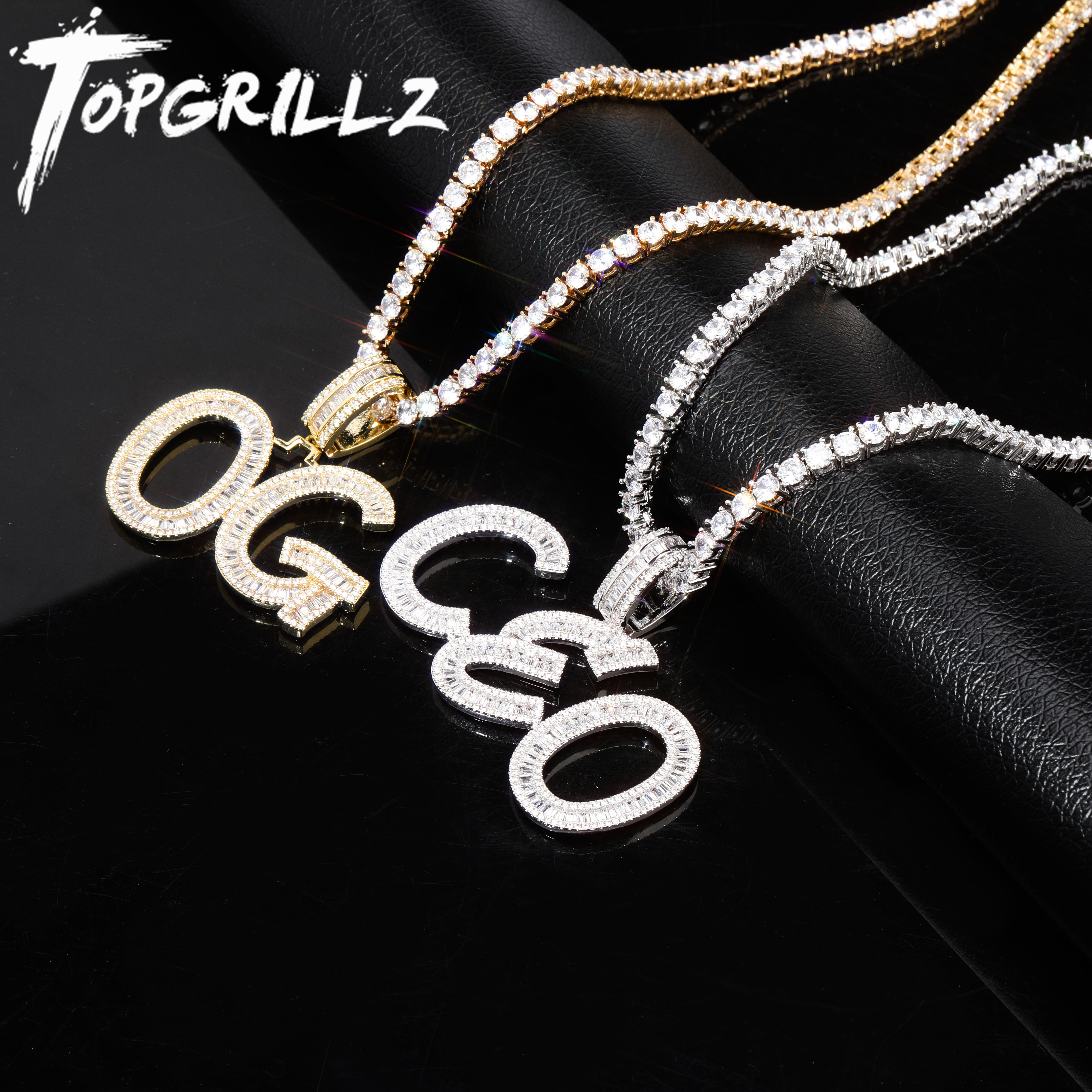 TOPGRILLZ Custom Name Baguette Letters Hip Hop Pendant Chain Gold Silver Bling Zirconia Men's Hip Hop Pendant Jewelry|Customized Necklaces| - AliExpress