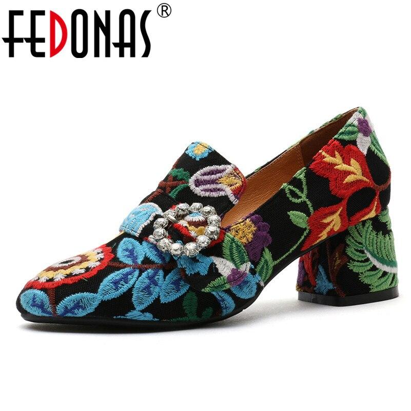 FEDONAS Design classique troupeau femmes pompes Top qualité bout carré chaussures de bal Vintage élégant fête broder chaussures femme