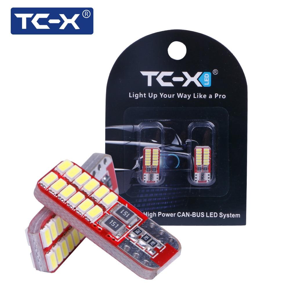 TC-X 2pcs T10 W5W Bulb Led Light Canbus T10 Error Free 24 Leds 3014SMD White 12V Car Styling Auto for Interior Lights Universal t10 3w 144lm 6 x smd 5630 led error free canbus white light car lamp dc 12v 2 pcs