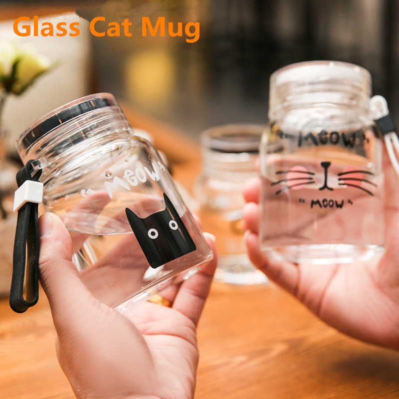 New Cartoon Glass Mug Coffee Tea Mugs 300ml Cute Cat Face Cups Mug Watter Bottle Drinkware Creative Cat Cup Transparent Glass