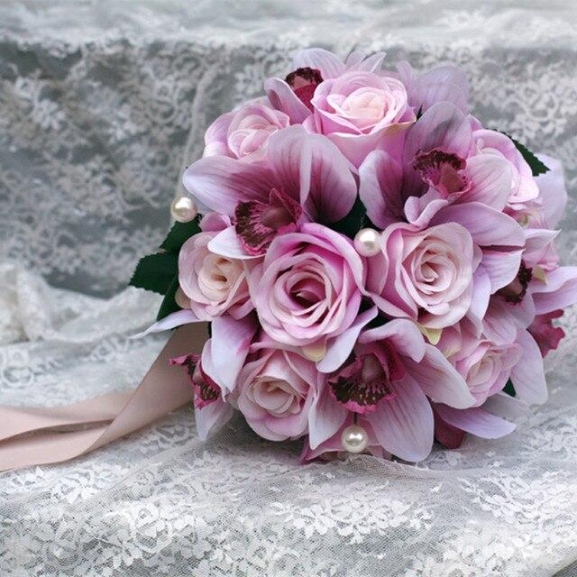 Pretty Charming Delightful 23cm Diamater Wedding Bouquet  buque casamento Artificial Silk Flower Bridal Home Decal