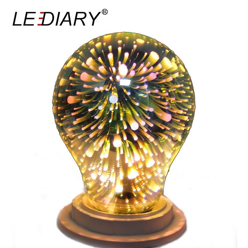 LEDIARY A60/A19 3D Decoration Bulb E27 LED Light Bulb 100V-240V Holiday Global Lamp Real>4W Novelty Festival Decor for home палатка holiday 3 кт3018