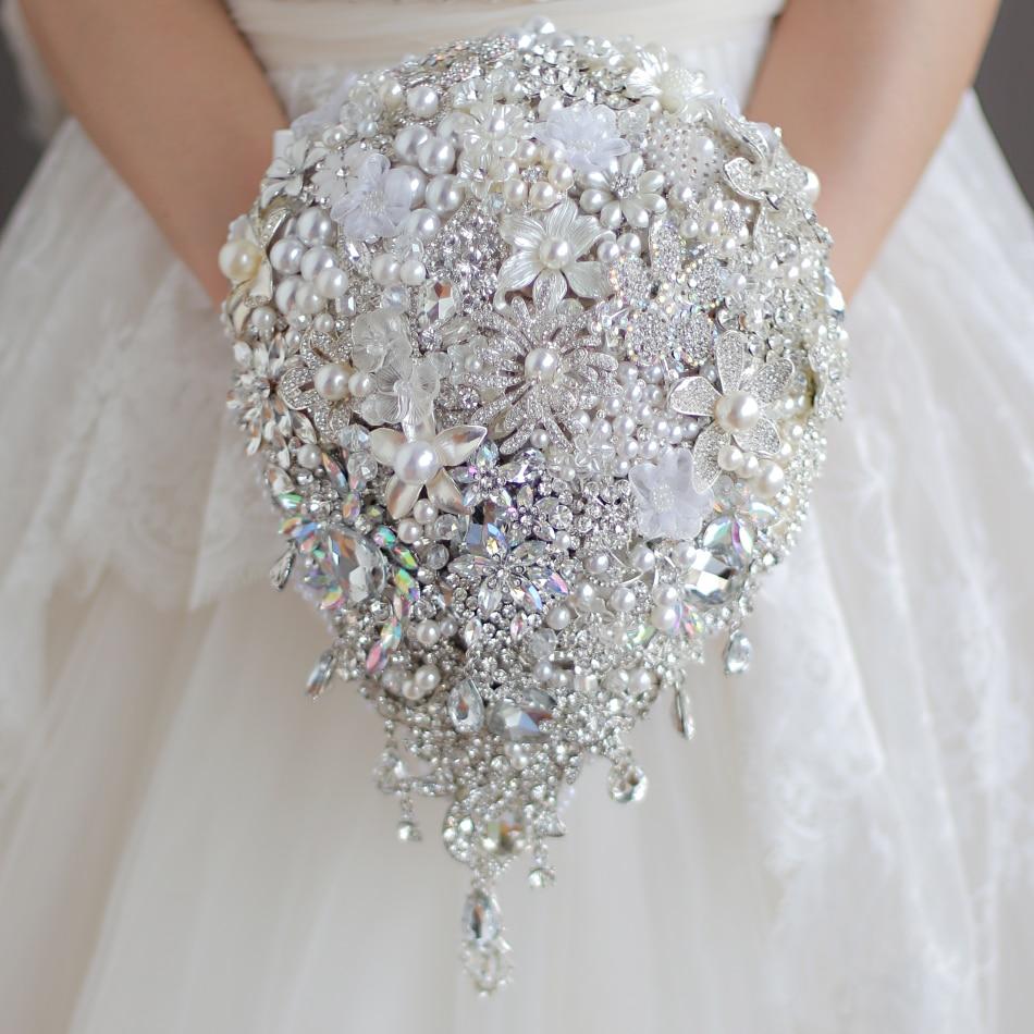 Luxurious Wedding Accessories Brooch Bouquet Ivory Gray Crystal Wedding Bouquet Silk Wedding Flowers Bridal Bouquets DIY Decor