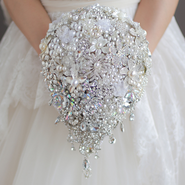 Luxurious wedding accessories Brooch bouquet Ivory Gray Crystal ...