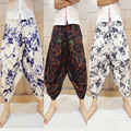 Men Linen Pants Fashion Summer big crotch floral pants male cotton loose linen pants folk style harem pants