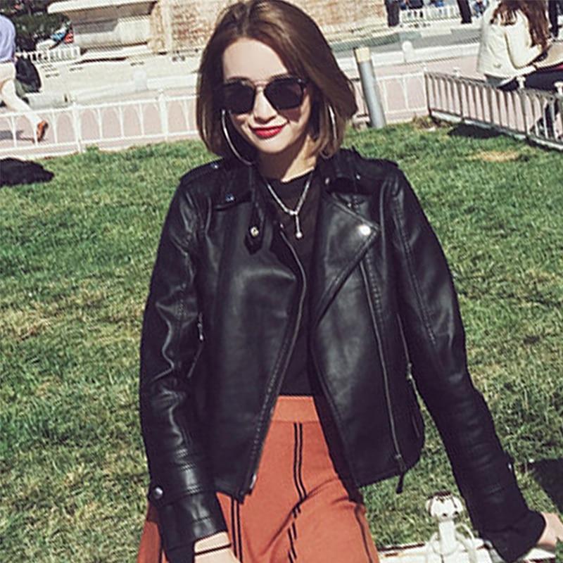 Korean Style Women Autumn   Leather   Jacket Turn-Down Collar Black Ladies Outwear Coat 2019 New Fashion