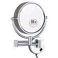 GURUN 8.5 Vanity led Lighted Bathroom Magnifying Makeup Mirror Dual Sided Magnification 10x/1x, Solid Brass, Electrical Plug