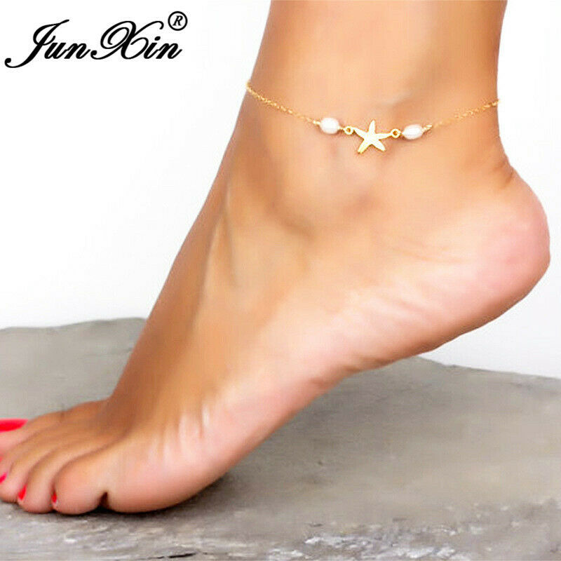 Fashion Stainless Steel Gold Color Silver Color Star Anklet Ankle Foot Chain Bracelet Women