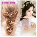 Hermosa 6 unids/set Hecha A Mano Tocado de Perlas Rhinestone de la flor de oro de La Boda Hairwear Horquillas Accesorios de Boda de Oro