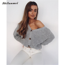 цена на 2019 Autumn Winter White Sweater Cardigan Oversized Women Fashion Long Sleeve V-Neck Sweater Coat High Street Cardigan Knitted