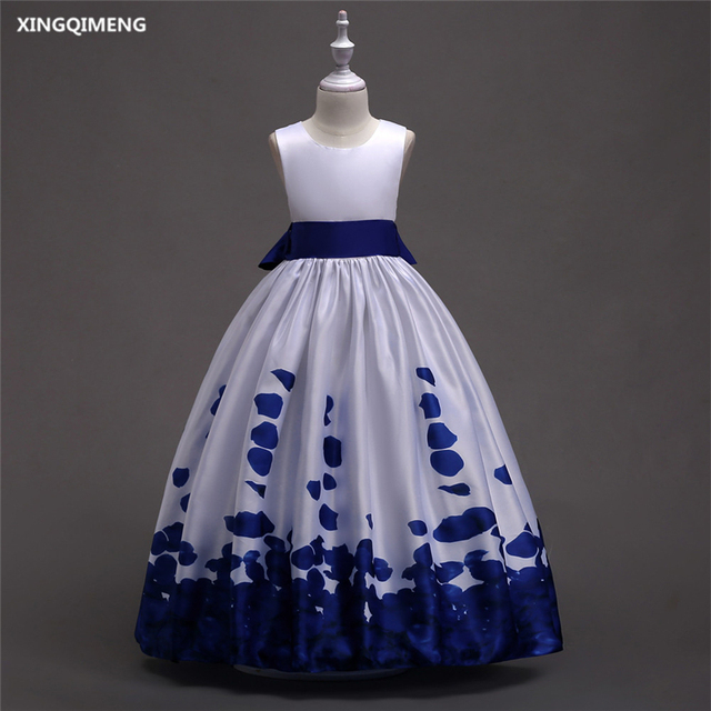 In Stock White and Royal Blue Flower Girl Dresses 4 16Y Satin First ...