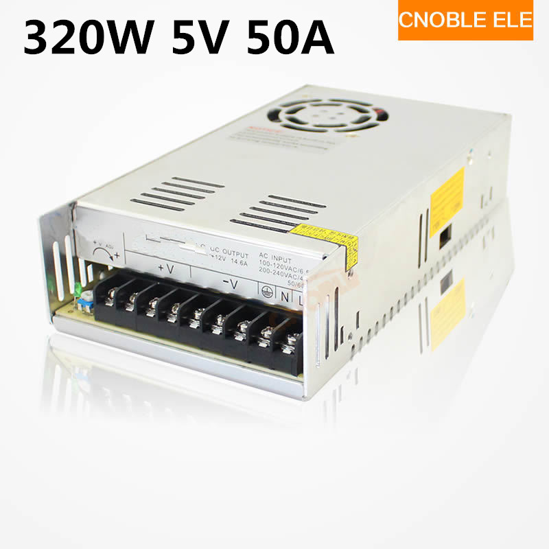 320W 5V 50A Single Output Switching power supply for LED Strip light AC to DC 110V 200V selected by switch allishop 300w 48v 6 25a single output ac 110v 220v to dc 48v switching power supply unit for led strip light free shipping