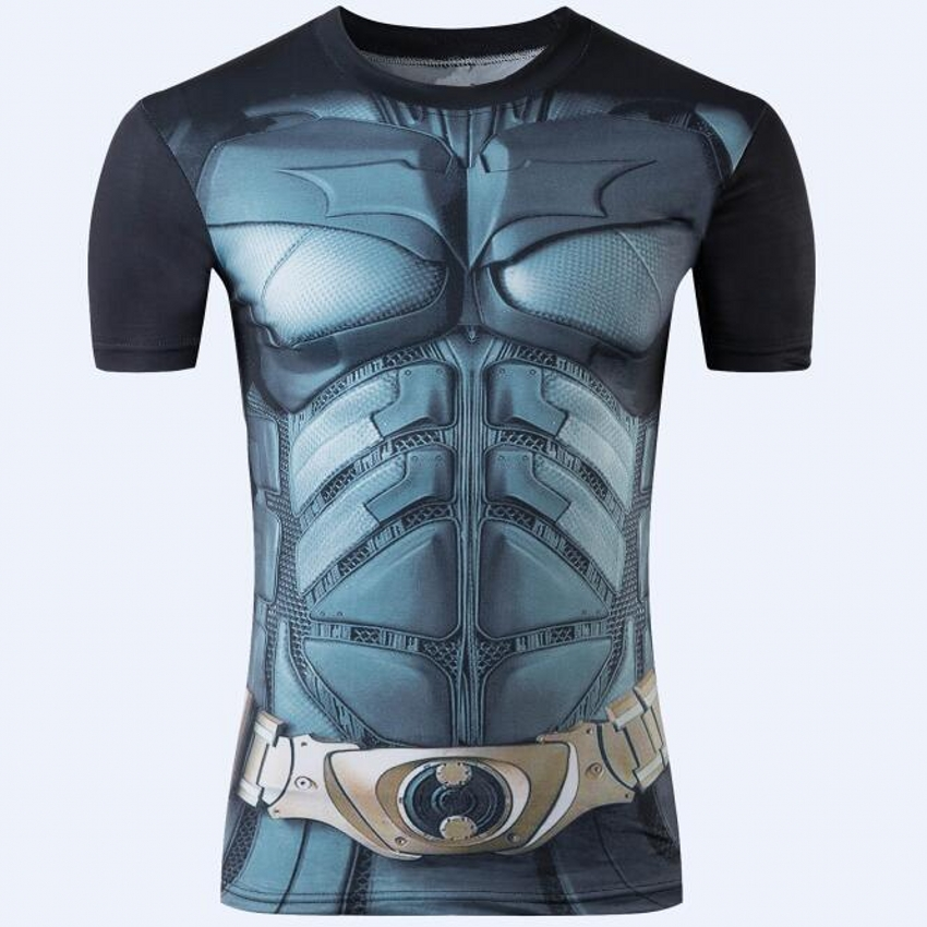2016 new spider-man male quick dry short T-shirt compressed t-shirts superman and batman captain America fitness T-shirt