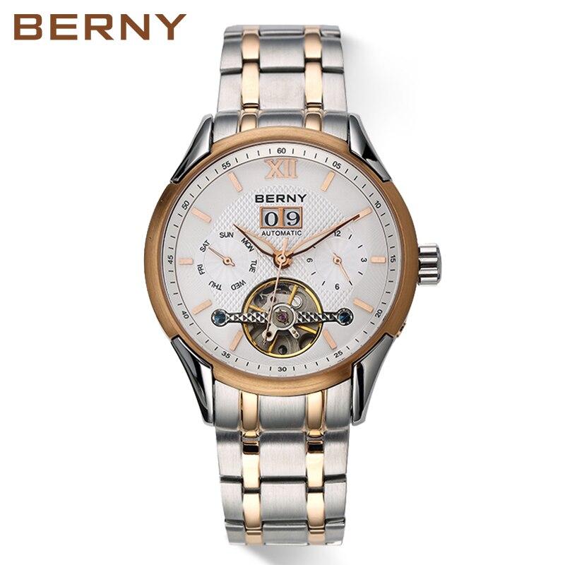 b14a0f18c6e 2017 Relógios BERNY Megire Famoso Papel de Luxo Homens Relógio Automático  Dos Homens Relógios Em Aço
