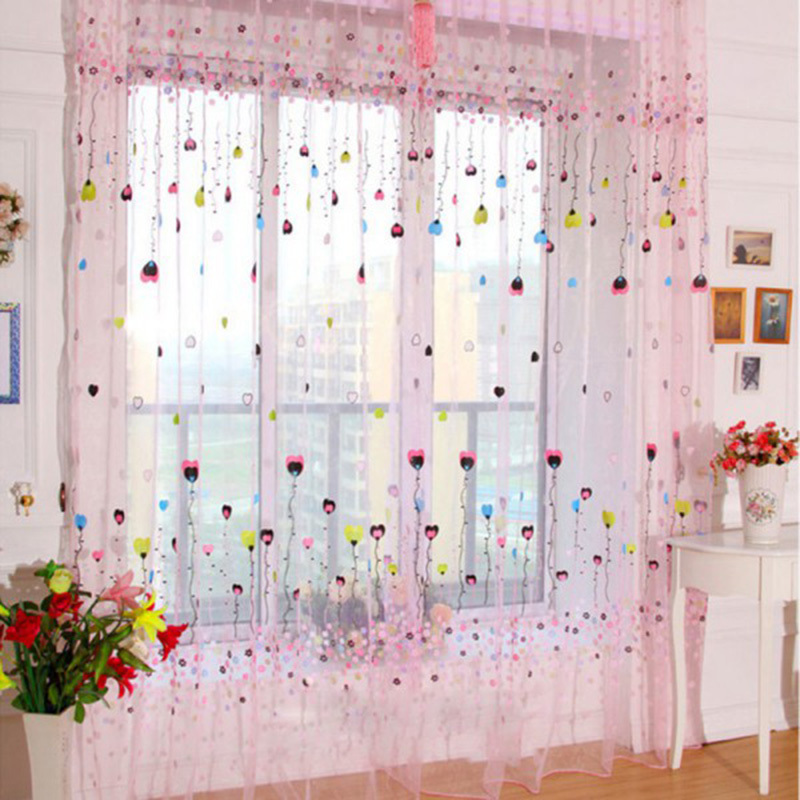 ... New Floral Print Voile Window Curtains For Living Room Voile Tulle Door  Curtains Drape Panel Sheer ...