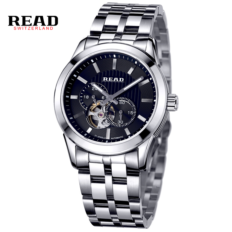 READ Hollow Automatic Mechanical Watches Men Luxury Brand Leather Strap Casual Vintage Skeleton Watch Clock relogio 8006G winner men luxury brand rectangle casual skeleton leather strap watch automatic mechanical wristwatches gift box relogio releges