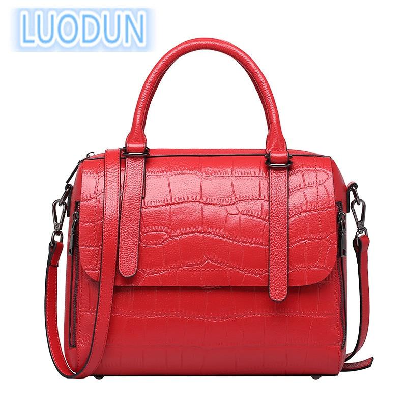LUODUN 2018 spring and summer new cowhide handbags small square bag leather shoulder Messenger bag ladies bag цена