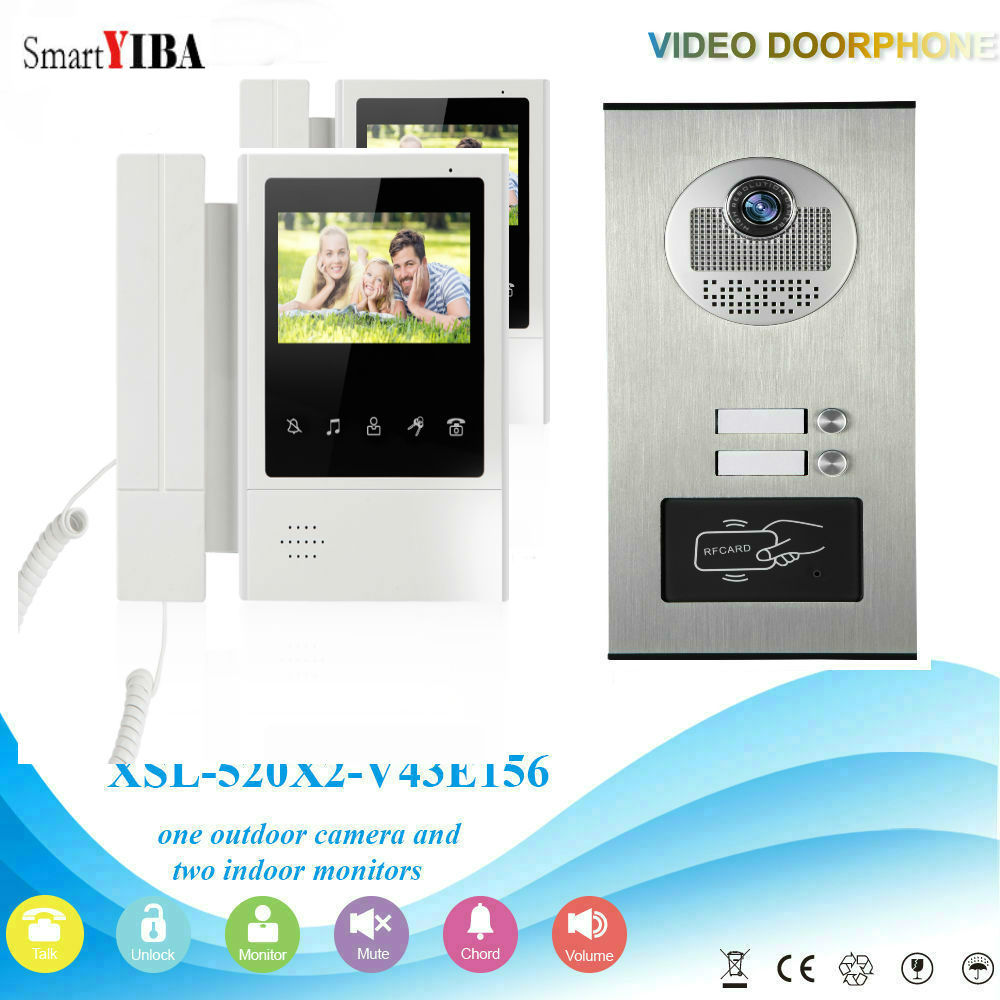 "Smartyiba 2 Units 4.3""color Video Door Phone Intercom Kit Multi Apartment Building Video Intercom System+1 Rfid Access Camera Perfect In Workmanship"