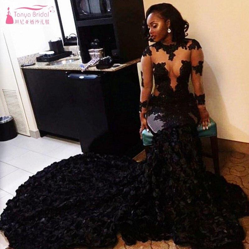 Robes de bal noires africaines sirène décolleté transparent Appliques manches longues robe de soirée longues robes arabes dubai JQ179