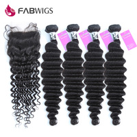 Fabwigs глубокий волны бразильский пучки волос плетение с Синтетическое закрытие волос 5 шт. много человеческих Химическое Наращивание волос 4