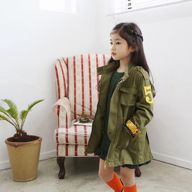 Children's Winter Jackets Long Outerwear Girls Trench Cool Unisex Green Parka