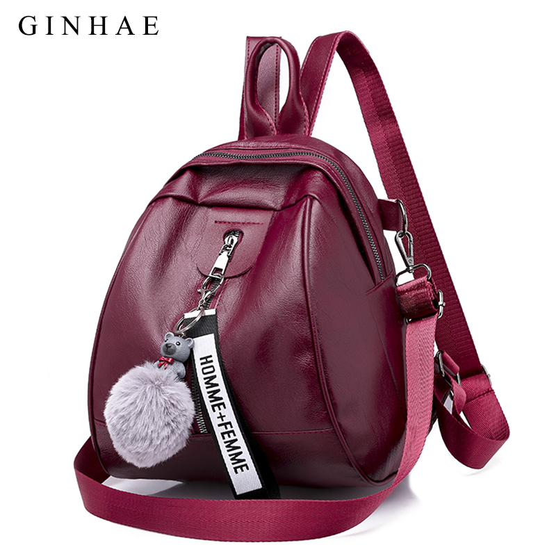 High Quality PU Leather Solid Women School Bag Backpack For Teenager Girls Large Capacity Shoulder Bags Women Black Backpacks
