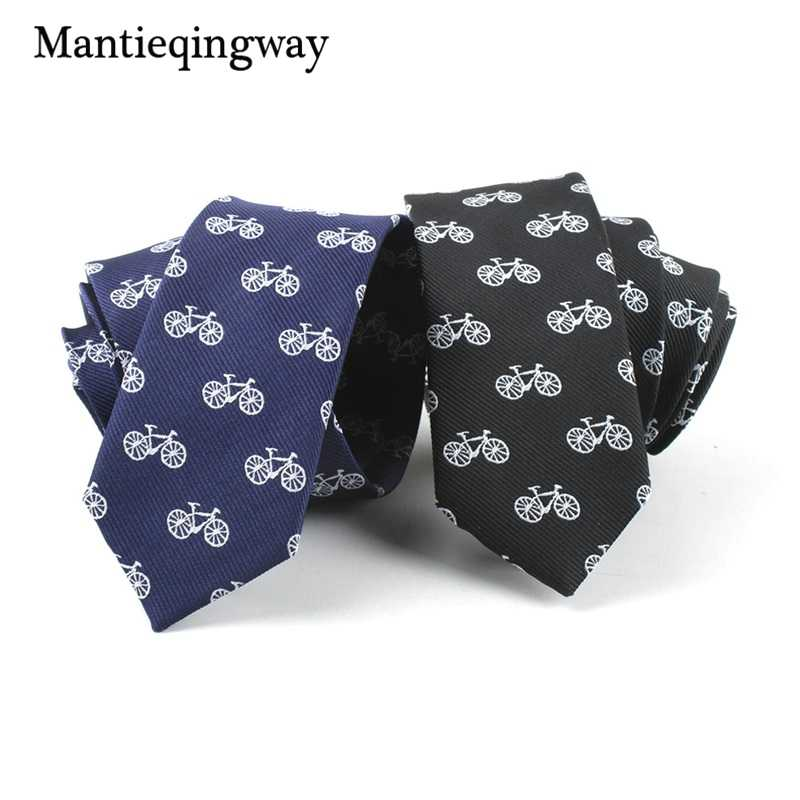 0bba9eb4d342 Mantieqingway 5cm Casual Skinny Neck Ties for Mens Bicycle Pattern Gravatas  Slim Marriage Wedding Party Tie