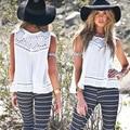 Blusas Femininas 2016 New Fashion Women's White O-Neck Summer Chiffon T Shirt Hook Flower Cute Sleeveless Lace Shirts Brand Tops