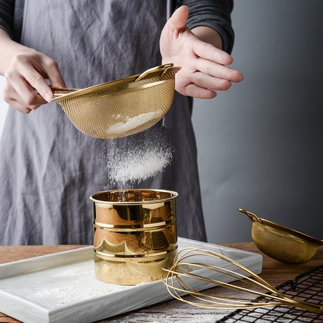 Golden 304 Stainless Steel Flour Sieve Fine Mesh Filter Handheld Sugar Powder Sieve Baking Tool.jpg 640x640 - tabletop-and-bar, kitchen-tools - Royalty Golden Strainer