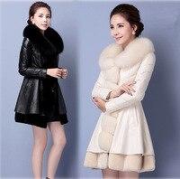 Pani skórzana kurtka, długi płaszcz jesień nowy imitacji futra lisa płaszcz PU Han Haining skórzane