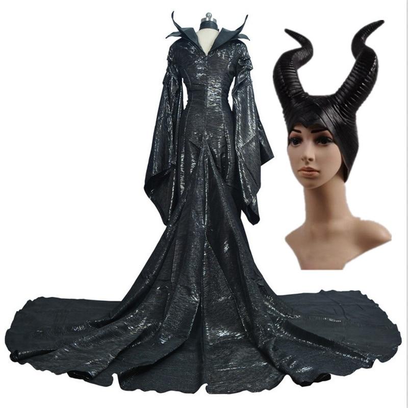 High Quality Custom Made Dark Witch Maleficent Adult Women Halloween Party Cosplay Costume Maleficent Dress sword art online 5 phantom bullet death gun cosplay shoe party boots high quality custom made