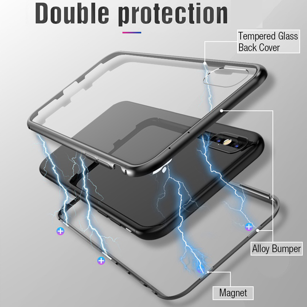 competitive price 43b50 6d6e9 Magnetic Metal Apple Iphone X Tempered Glass Case High Transparency Back  Cover For Iphone 8 7 Plus Coque
