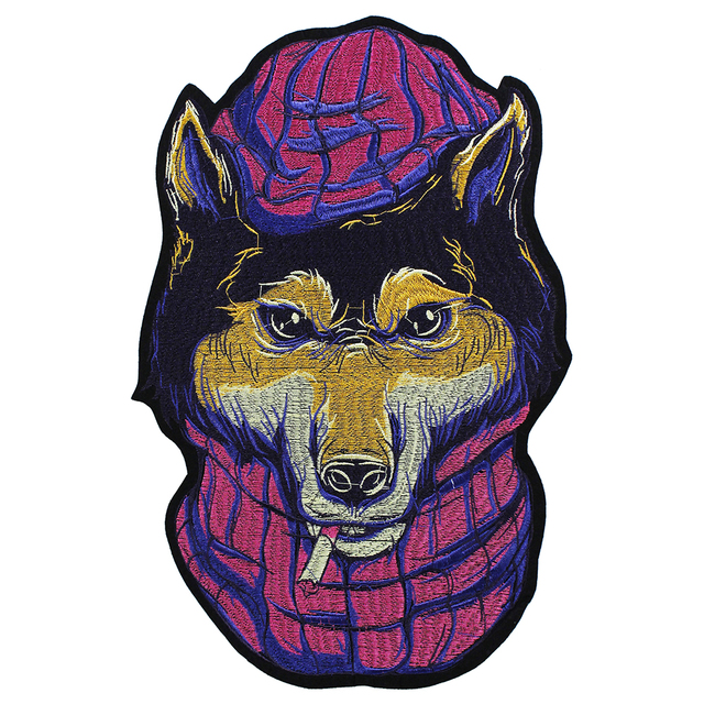 1pc Fashion Cool Eye Wolf Dog Cat Head Patches for Clothing Iron On Embroidered Appliques DIY Apparel Accessories Patch TH1504 3
