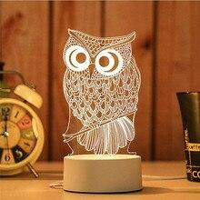 Owl Shape 3D USB Acrylic Night Light LED Table Desk Bedroom Decor Gift Warm White Lamp Night Lamp Cute Led Light Christmas New!