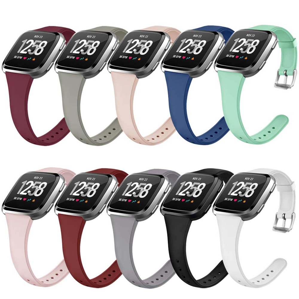 Coolaxy Wristband For Fitbit Versa/Versa Lite Band Soft Silicone Slim Thin Narrow Replacement Strap For Fitbit Versa Women Men
