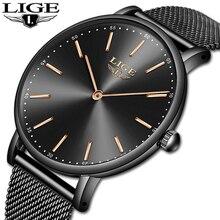LIGE Fashion Luxury Black Women Watches 2019 High Quality Ultra thin Quartz Watch Woman Dress Elegant Ladies Monta