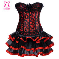 Sexy Red Lip Lace Trim Overbust Corset Bustier Dress Women S Shaper With Skirt Lingerie