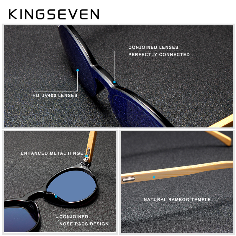 KINGSEVEN Sunglasses Men Bamboo Sun Glasses Women Brand Designer Original Wood Glasses Oculos de sol masculino 3